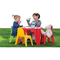 Preisvergleich für AVANTI TRENDSTORE - Kinder Set mit 4 Stühle und 1 Tisch in Kunststoff bunt, ca. 55,5x37,5x55,5 cm / 35x41x28 cm