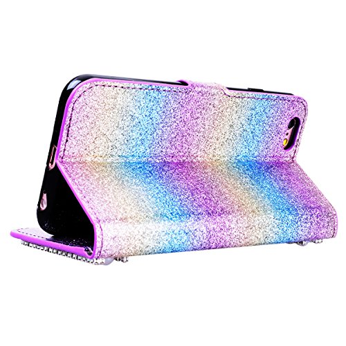 "WE LOVE CASE iPhone 7 / 8 Hülle Wallet Glitzern Diamant Pearl Blumen Im Retro Style Muster iPhone 7 / 8 4,7"" Lederhülle Regenbogen Farbe Handyhülle Flip Case Hülle Leder Klappbar Tasche Elegant Backco Rainbow Color 1"