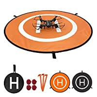 Win Power Drone Landing Pad with LED Night Lights, Waterproof Universal 75cm 30 inches Foldable Landing Pad for DJI Mavic Pro, DJI Spark, RC Drones Helicopter and More (Orange Black)