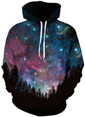 Bettydom Herren Galaxy Stil Unisex Slim Langarm Casual Wear Mann Sweatshirt Kapuzenpullover Hoodies 4 Blue Star