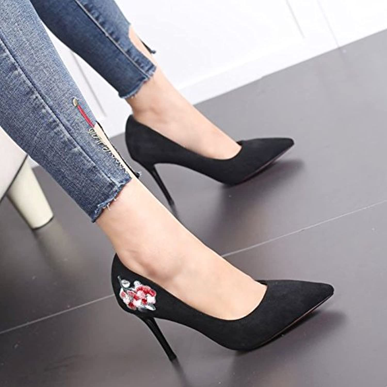 GTVERNH-L'Automne Pointe Broderie Chaussures Unique Lumière Est Très Bien Avec Avec Avec Les Chaussures De Femmes Noir Satin...B078ZX869KParent 863859