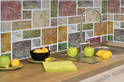 Tile & sticker 4-pack Peel and Stick tile vinyl Kitchen Backsplash adesivi da parete, design marmo