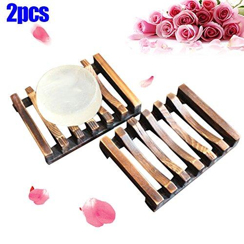 Rokoo 2 Stück Bad Holz Soap Case Halter Waschbecken Deck Badewanne Dusche Dish Halter für Schwämme Wäscher (Seifenschale Badewanne Form)