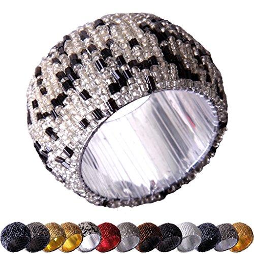 6er Pack Glasperlen Serviettenringe hangefertigt Innen-Ø4cm Auswahl: schwarz und silber (Und Silber Serviettenringe Schwarz)