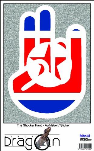 The Shocker Hand Aufkleber Decal Sticker 15cm Autoaufkleber außenklebend weiß Umriss mit Fahne Venezuela-Venezuela