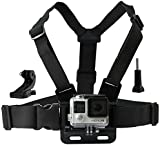 Chest Mount Harness for Gopro Hero 5, Black, Session, Hero 4, Session, Black, Silver, Hero+ LCD, 3+, 3, 2, 1 - Fully Adjustable Chest Strap - Also Includes J-Hook / Thumbscrew / Storage Bag