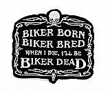 Nacido Criado muerto motorista de calavera fantasma para moto y para planchar parche bordado a mano coser símbolo chaqueta camiseta parches apliques accesorios