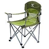 WSSF- Sedie da campeggio pieghevoli di lusso in cotone imbottito con braccioli e portabicchieri in rete Portatile da esterno giardino sedia da trekking da spiaggia comode poltrone da viaggio per il tempo libero, verde