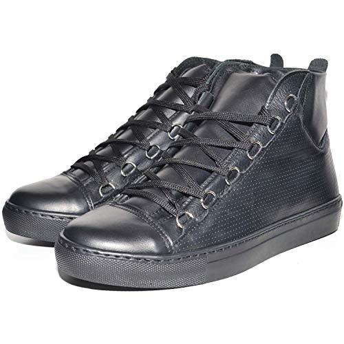 Sneakers uomo alta stringata nera pelle made in italy men shoes scarpe (43)