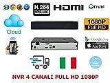 NVR 4/6 CANALI FULL HD 1080p 3G WIFI ONVIF P2P CLOUD VIDEOSORVEGLIANZA IP CAMERA 904478