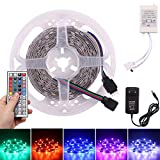 Tiras Led RGB 5 Metros 150 LEDs, Frontoppy 5050 RGB LED Strips 12v,Multicolor Tira de Luz Led Con Mando a Distancia y Adaptador Corriente, Luces LED Kit para Navidad, Bar, Fiesta,No impermeable