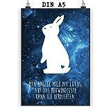 Mr. & Mrs. Panda Poster DIN A5 Kaninchen Hase - 100% handmade in Norddeutschland - Papier, Poster, Hase, Bild, Häschen, Löwenzahn, Wanddeko, Wandposter, zahm, Geschenk, Kaninchen, Haustier