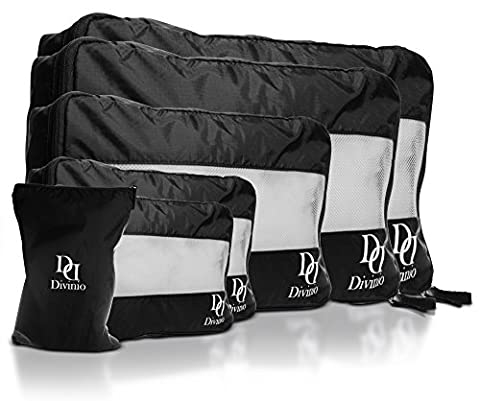 Divinio Travel Organizer Packing Cube Value Set von 6 - Nylon Kosmetiklager Koffer Kompression System mit 5 Würfeln und 1 Wäschebeutel Tasche, Breathable und Handy, verschiedene Größen