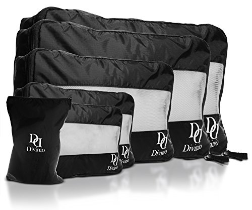 Divinio Travel Organizer Packing Cube Value Set von 6 - Nylon Kosmetiklager Koffer Kompression System mit 5 Würfeln und 1 Wäschebeutel Tasche, Breathable und Handy, verschiedene (Kostüme Engagierte)