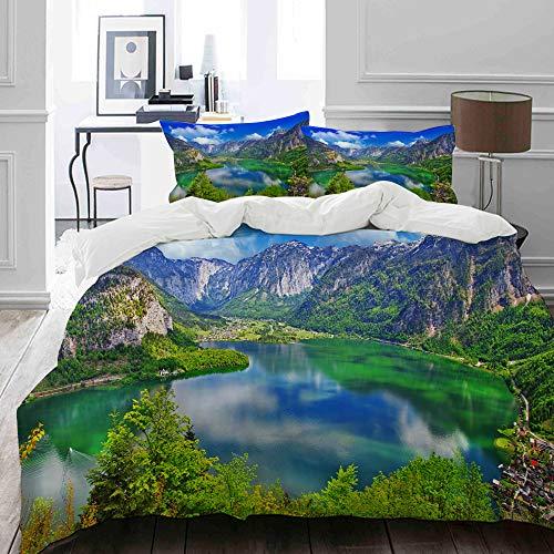 MIGAGA Bettwäsche-Set, Mikrofaser,Erstaunliche Alpine Seen, Hallstatt, Österreich Landschaftsberg u. See,1 Bettbezug 135 x 200cm+ 2 Kopfkissenbezug 80x80cm Alpine Girl