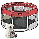 Mcdear Pieghevole Recinzione per Cuccioli Tessuto Box per Cani Conigli Conigli Piccoli Animali Rosso