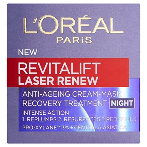 L'Oreal verjüngende Nachtcreme - Revitalift Laser Renew Cream-Mask Night, 1er Pack (1 x 50 ml)