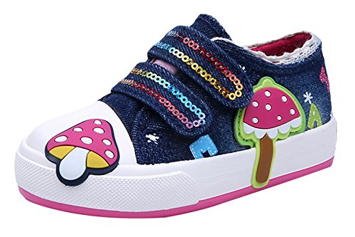 Y-BOA Chaussures Canevas Enfant Fille Scolaire Toddler Sneakers Basket Mode Sports Marine 23: Semelle 15.5cm