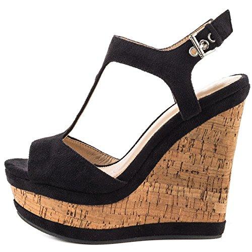 EKS Damen Peep Toe Fesselriemen Wedges Sandals High Heels T Strap Keilabsatz Sandalen Damenschuhe Schwarz 39 EU Wedges Heels