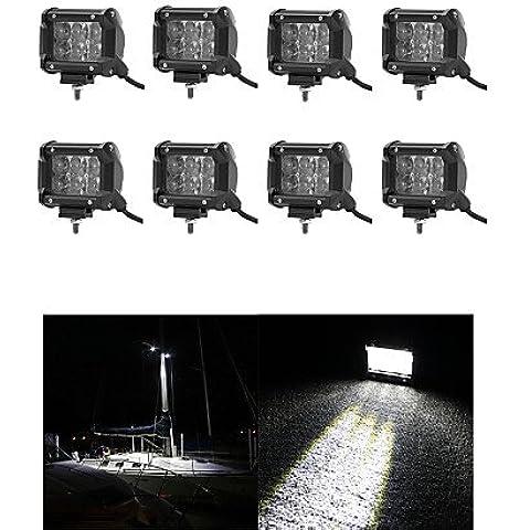 8x 30W Luce LED lavoro Bar Offroad 12V 24V alluvione ATV Offroad per carrello 4x4 UTV,DC12V,Nero