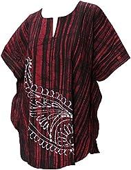 La Leela 100% des feuilles coton batik léger 5 en 1 hawaïen maillot bain maillot bain bikini beach party couvrir nightwear robe casual tunique femmes haut chemise nuit courte caftan, plus kimono