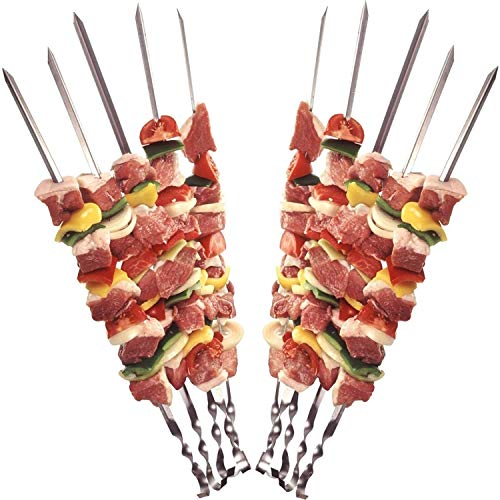 12 Grillspieße Schaschlikspieße aus Edelstahl 60cm | Fleischspieße für BBQ & Grill | Kebab Spieße | Schampura für Mangal von STAR-LINE®