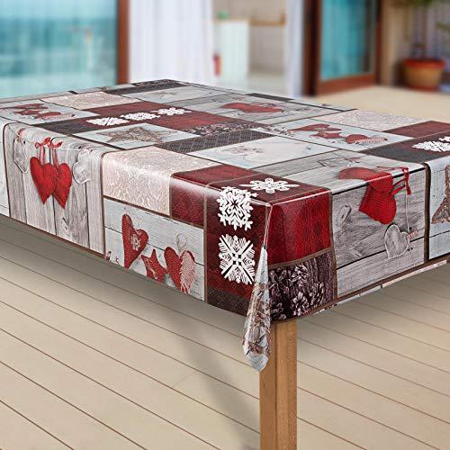 laro Wachstuch-Tischdecke Schneeflocke Weihnachten Weihnachts-Motive PVC Wachstischdecke Eckig Meterware Wasserabweisend Abwischbar GAN, Größe:100x140 cm, Muster:Schneeflocken weinrot