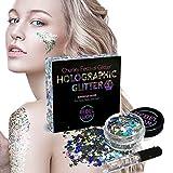 Glitzer Make-Up Für Gesicht, Körper und Haare – Silberner Holografischer Glitter Mix – Haarglitter für Partys und Karneval – Inklusive Langanhaltendem Gel Für Strahlendes Aussehen