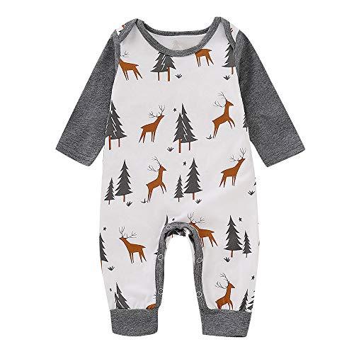 (Oyedens Baby Print Crawler Langarm Weihnachten Hirsch Elch Weihnachtsbaum Hase Overall Kleinkind Baby Mädchen Jungen Weihnachten Langarm Kitz Print Jumpsuit Outfit (3M-24M)