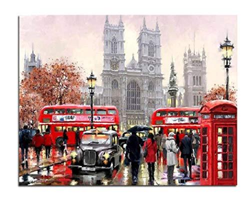 Superlucky UK London Landschaft Bilder Durch Zahlen DIY Handgemalte Wandmalerei Geschenk Färbung Nach Zahlen Kunst Für Wohnkultur 40x50 cm Ohne Rahmen
