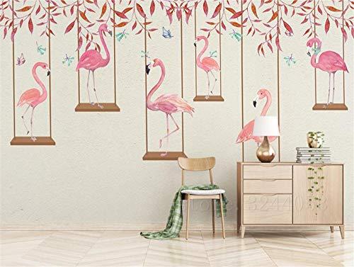 Muraon carta da parati fotografica effetto 3d di alta qualità cartoon camera dei bambini carta da parati fenicottero rosa camera da letto soggiorno sfondo, 250x175 cm (98.4 by 68.9 in)