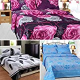 Sky Tex Super Saver Combo Of 3 3D Printed Poly Cotton 140 TC Vibrant Double Bed Sheet With 6 Pillow Covers …