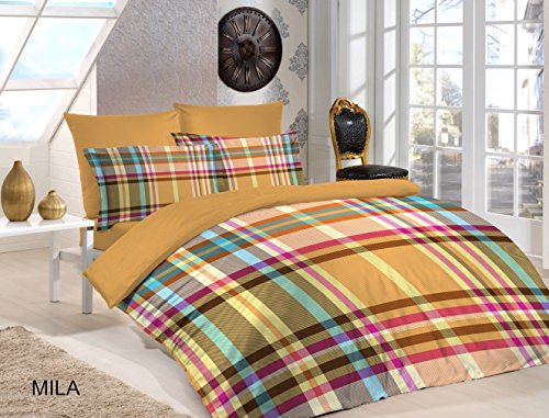 Bettbezug Set-100% Ägyptische Baumwolle-180Fadenzahl-Attraktive Designs., Mila, Single (135x200cm) - Ägyptische Baumwolle Single