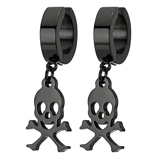 Pair Men Women Black Steel Clip On Huggie Hinged Hoop Earring with Pirate Skull Non-Piercing Earring