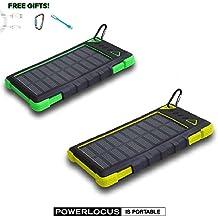 Solar Power Bank 12000mAh, PowerLocus® Solar Ladegerät Batterie für iPhone Android-Handy Samsung iPad Tablet Camera GPS, Dual USB Port Tragbares Schnittstelle Externer Akku Backup Wasserdicht Stoßfest Staubdicht (Gelb)