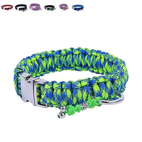 BelloBand Hundeleine Set aus Paracord / Führleine mit Hundehalsband für mittelgroße Hunde / Farbe: Grün / 40cm ø