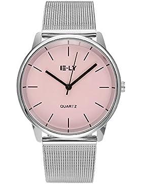 JSDDE Uhren,Einfaches Armbanduhr Wasserdicht Zeitloses Design Damenuhr Mesh Metallarmband Quarz Uhr,Rosa
