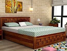 BL Wood Furniture Sheesham Wood King Size Storage Bed for Bedroom (Honey Finish)