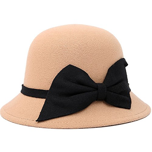 Butterme Vintage Cloche Kappen Eimer Hüte Runde Bowler Hat Fedora Derby Hüte mit großen Bogen für Frauen Damen (Hüte Fedoras)