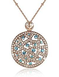 GoSparking Aquamarine azul del cristal 18K Rose plateó el collar del colgante de la aleación venas con el cristal austríaco para las mujeres