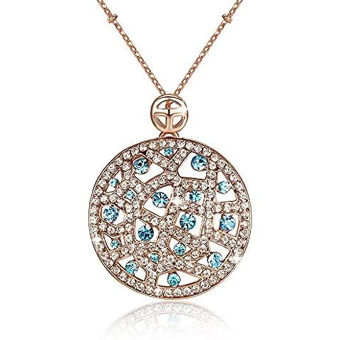 GoSparking Aquamarine blu cristallo 18K Rosa ha placcato della lega del pendente della collana vene con cristallo austriaco per le donne
