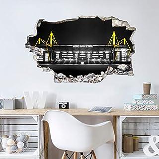 Wandsticker, Wandtattoo, Aufkleber, Poster selbstklebend - 3D Wandtattoo BVB Signal Iduna Park bei Nacht - BVB10302- Bogengröße 60x36 cm