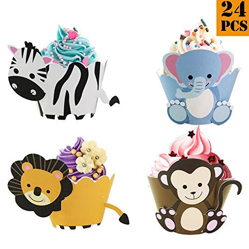 24pcs/los Wild Animal Cupcake Wrappers Geburtstagstorte Party Dekoration liefert Löwenaffe Zebra Elefant Baby Dusche Dessert Tischdekoration - Elefanten-dusche