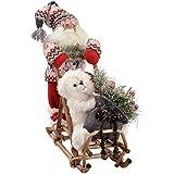 WeRChristmas - Decorazione natalizia a forma di Babbo Natale con slitta, 35 cm, colore: rosso/verde