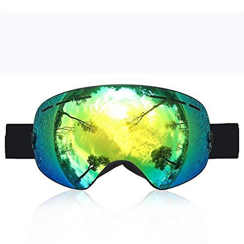Kostüm Hund Ghostbuster (XNPP Ski / SnowBoard Goggles Erwachsenen Doppel Nebel große sphärische Bergsteigen Gläser mit Männern und Frauen Gläser ausgestattet , green box + green)