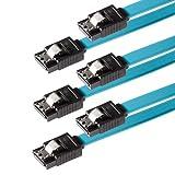 Poppstar Set – 3X SATA 3 HDD/SSD Premium Datenkabel-Set mit jeweils 2X 7-Pin Clip-Stecker Gerade/Länge: 0,5m / Schnelle Datenübertragung mit bis zu 6 GBit/s / Farbe: Blau