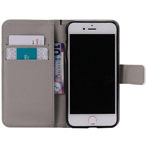 Coque pour iPhone 7, Cozy Hut Élégant Style PU Cuir Flip Magnétique Portefeuille Etui Housse de Protection Coque Étui Case Cover avec Stand Support pour iPhone 7 - Chats et arbre minou