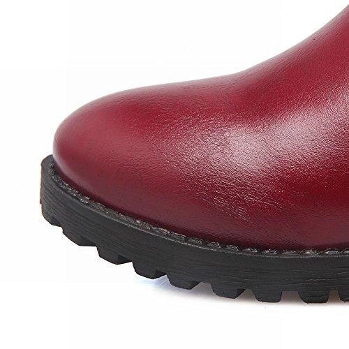 Mee Shoes Damen runde Reißverschluss langschaft chunky heels Stiefel Rot