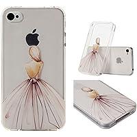 Carcasa Para iPhone 4 4S Case , YIGA Sexy Niña Rosa Blanco Transparente 3D TPU Piel Gel Cubierta De Silicona Suave Funda Tapa Para Apple iPhone 4 / iPhone 4S