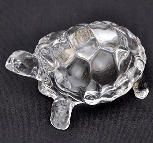 BuyRudraksha Fengshui Vastu Original Clear Crystal Turtle for Peace & Prosperity (Medium)